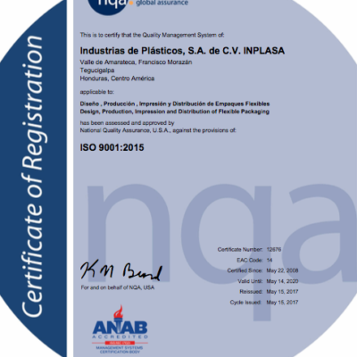 Certificado NQA ISO 9001-2015